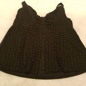 Cacique Swim - Cacique Black Overlay Underwire Tankini Swim Top